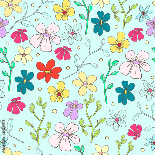 Seamless Floral Pattern Cute Vintage Flower For Textile Package Wallpaper Covers