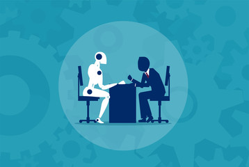 Human vs Robot machine concept