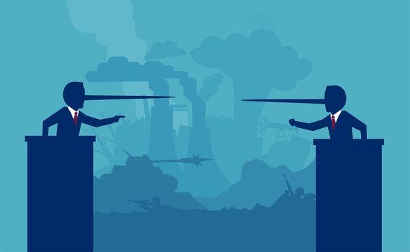 liar politicians having a debate on background of a war battlefield