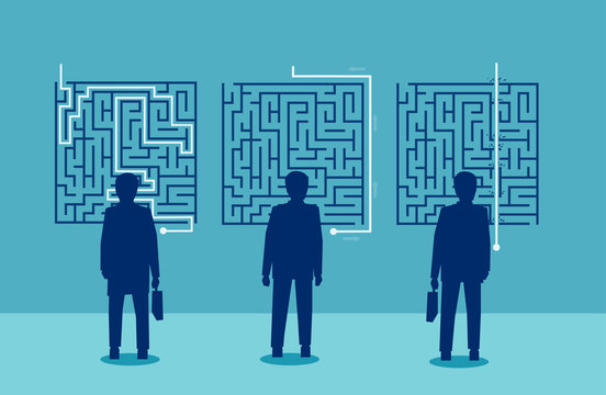 businessmen have a different solution for a challenging labyrinth