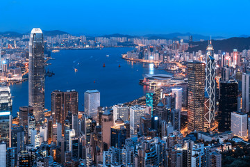 Hong Kong city view from the Peak at twilight
