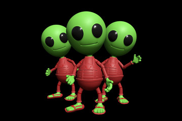 group of cute little alien cartoon character watching, visitors form outer space (3d illustration, isolated on black background)