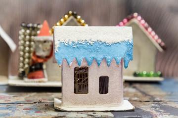 Vintage Mica Cardboard Christmas Village Church