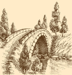 Bridge over river landscape