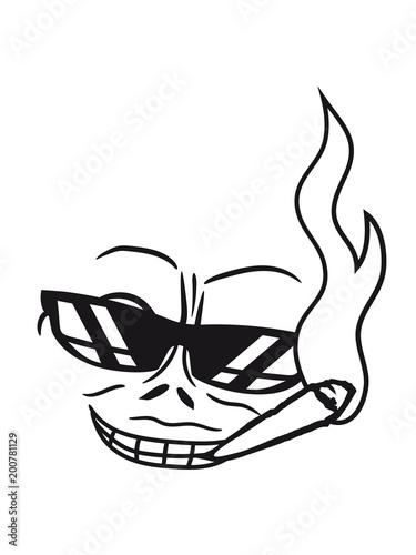 Gesicht Rauchen Sonnenbrille Hanf Weed Joint Kiffen Bse Mann Gemein