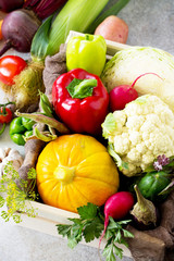 Food background. The concept of healthy eating. Fresh different vegetables on a gray stone or slate background.