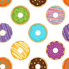 Seamless cute pattern with glazed donuts. For print and web