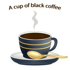 Coffee close-up. Cup of hot coffee isolated on white background. Black coffee in a porcelain cup. Vector illustration.