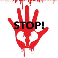 Poster to stop elephant and animal murder. Head of elephant and stop sign with bleeding palm. Vector Illustration