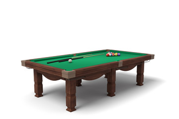 3d rendering of an isolated billiard table with a full set of sticks and balls in its surface.