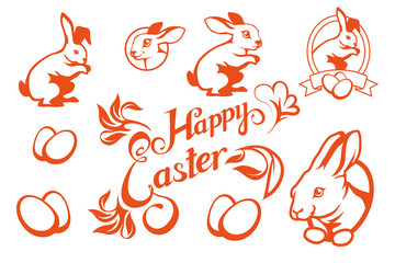 Set of Easter lettering. Christian holiday. Easter text.