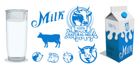 Set of different Milk product. Milk logo. Healthy drink. Lettering. Milk is a nutritious liquid. Ecologically pure natural cow milk and dairy products.