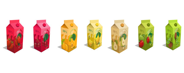 Set of different juice product. Fresh Juice logo. Healthy drink. Juice is a nutritious liquid. Ecologically pure natural juice.