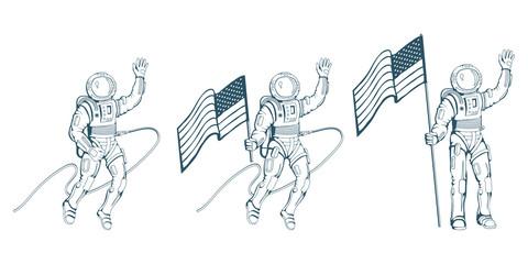 Set of Cosmonaut in different poses. Astronaut with helmet. Space cosmonaut in spacesuit. Vector astronaut character.