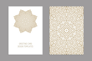 Templates for greeting and business cards, brochures, covers. Oriental lace pattern. Mandala. Wedding invitation, save the date,RSVP. Arabic, Islamic, moroccan, asian, indian, african motifs.