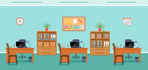 Office interior design with three workcpaces without people. Working indoor room template with furniture.