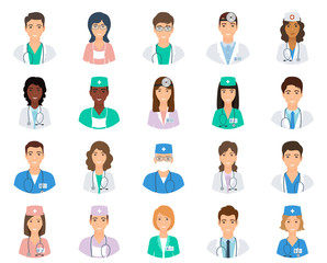 Set of doctors and nurses avatars in uniform. Collection of medicine employee. Medical men and women portfolio avatars.