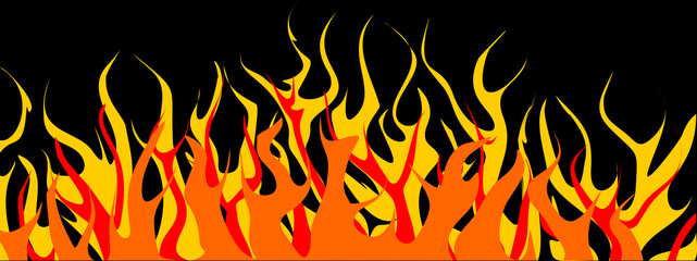 Dancing flames - vector clipart. Yellow, orange and red fire isolated on a black background