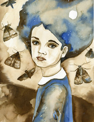 Watercolor portrait of a child in blue.