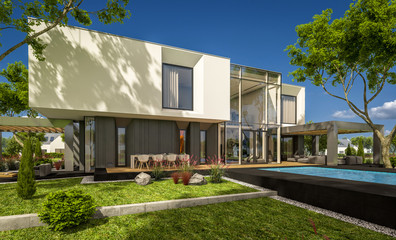 3d rendering of modern house in the garden