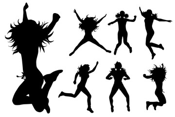 Vector silhouette of woman who jump on white background.