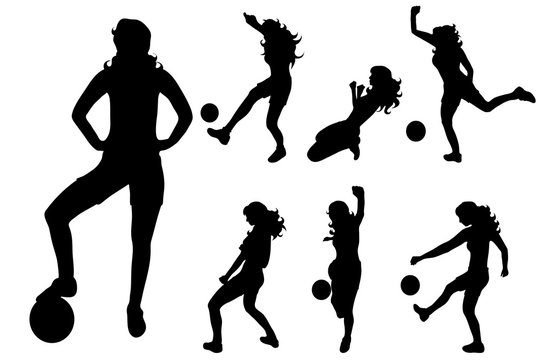 Vector silhouette of woman who play football on white background.