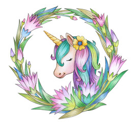 Unicorn in floral frame, isolated on white.