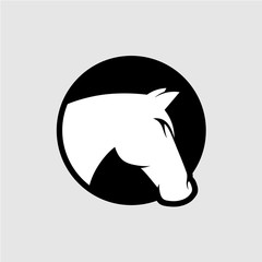 Horse head logo. Black and white color.