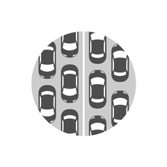 Traffic jam icon. Cars in a rows symbol.