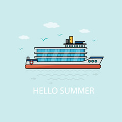 Banner, poster, card with text Hello Summer and  nautical vehicles: sail boat, ship, vessel