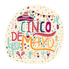 Banner or card for Cinco de Mayo celebration. Holiday poster with hand drawn calligraphy lettering,