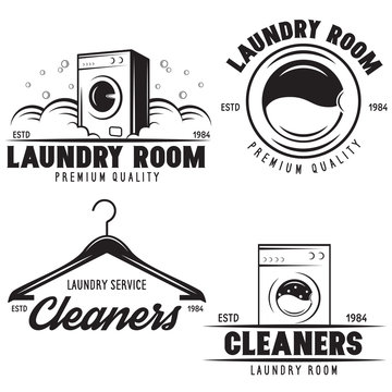 vector set of laundry logos emblems and design elements. logotype templates and badges.