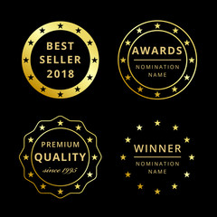 Best seller or price 2018, 2019 greetings. Film awards logotype collection. Set of isolated elegant abstract gold gradient symbols. Luxurious winning congratulating template, first place or discount.