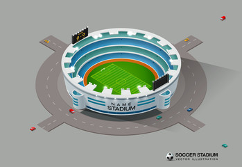 isometric soccer football stadium