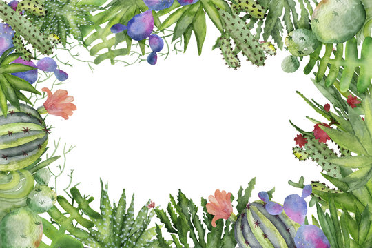 Watercolor cactus border frame for invitations and greeting cards