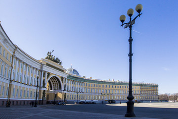 View of building of Arch General Staff and street lamp is symbol of city at Palace Square in St, Petersburg, Russia