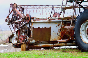 The old reaping machine was prepared and repaired for harvesting wheat