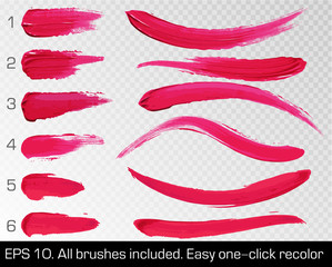 Red smears lipstick set texture brush strokes isolated on white transparent background. Make up. Vector illustration. Beauty and cosmetics colorful collection, hand drawn design element.