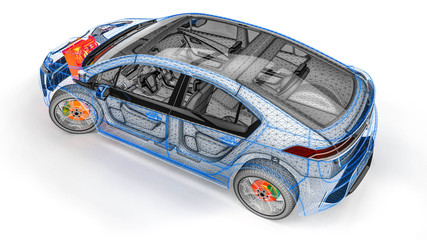 engine scan in an wire frame car/3D render representing a scan of a car with an the engine in thermal color