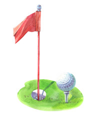 Watercolor golf flag ball object isolated on white background