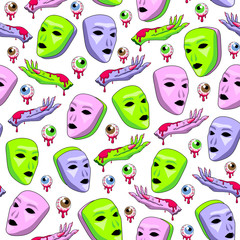 Alien masks and hands with bloody eyeballs seamless pattern. White background. Modern space design for textiles, fabrics, wrapping paper, wallpapers. Vector illustration.