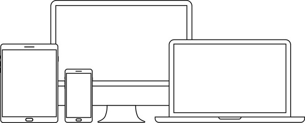 Device and gadget line art set. Laptop, smartphone, modern portable and compact personal computer machines for home and office work. Vector line art device illustration