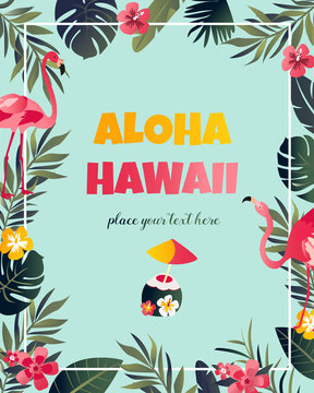 Tropical Hawaiian Poster with flamingo.