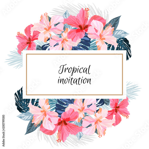 Summer Tropical Background Design With Palm Leaves And Exotic Red