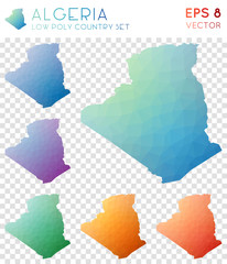 Algeria geometric polygonal maps, mosaic style country collection. Extraordinary low poly style, modern design. Algeria polygonal maps for infographics or presentation.