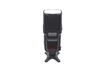 Black photographic speedlight isolated on white backgraund
