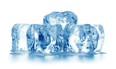 heap of ice cubes isolated on white background