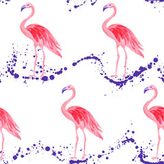 Photo on textile frame Flamingo Trendy flamingo watercolor seamless tropical pattern. Paint splashes backdrop, stains splatter texture. Flamingo bird watercolor textile background, seamless fashionable pattern design.