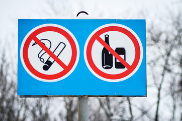 Prohibition Sign do not smoking and drink alcohol