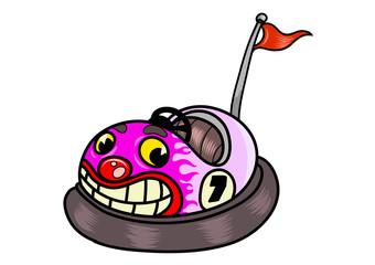 Funny cartoon bumper car. Vector illustration